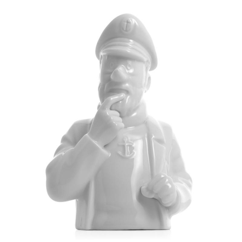 Figurine Moulinsart Tintin - Buste porcelaine Haddock pense (Brillant)