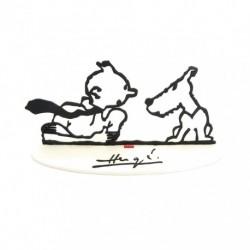 Figurine Moulinsart Tintin - Sculpture Tintin & Milou (Hommage à Hergé)