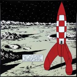 Plaque émaillée Tintin - Lune 35x35 : Tintin marche sur la Lune