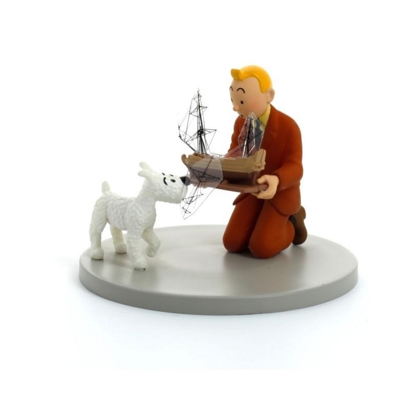 Figurine Moulinsart Tintin - Diorama Tintin tenant la Licorne