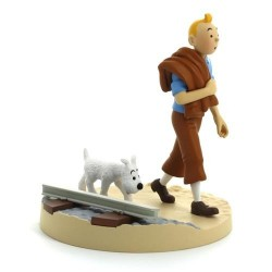Figurine Moulinsart Tintin - Diorama Tintin voie ferrée