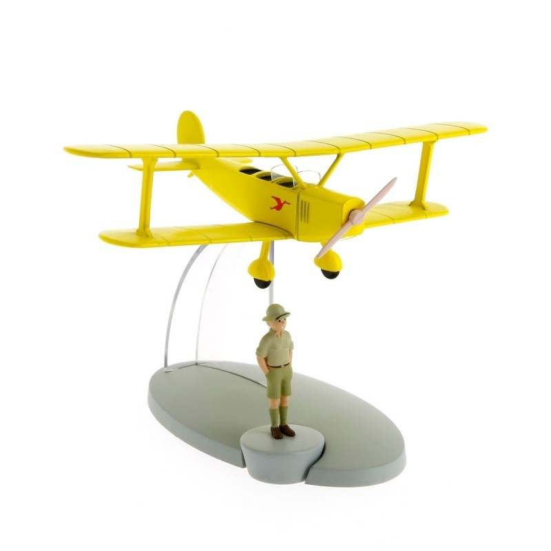 Avion Moulinsart Tintin - Fig 06 Biplan jaune + Tintin