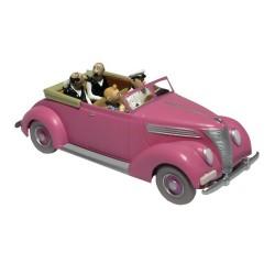 Voiture Moulinsart Tintin - Ford V8 Cabriolet rose (Coll. Atlas)