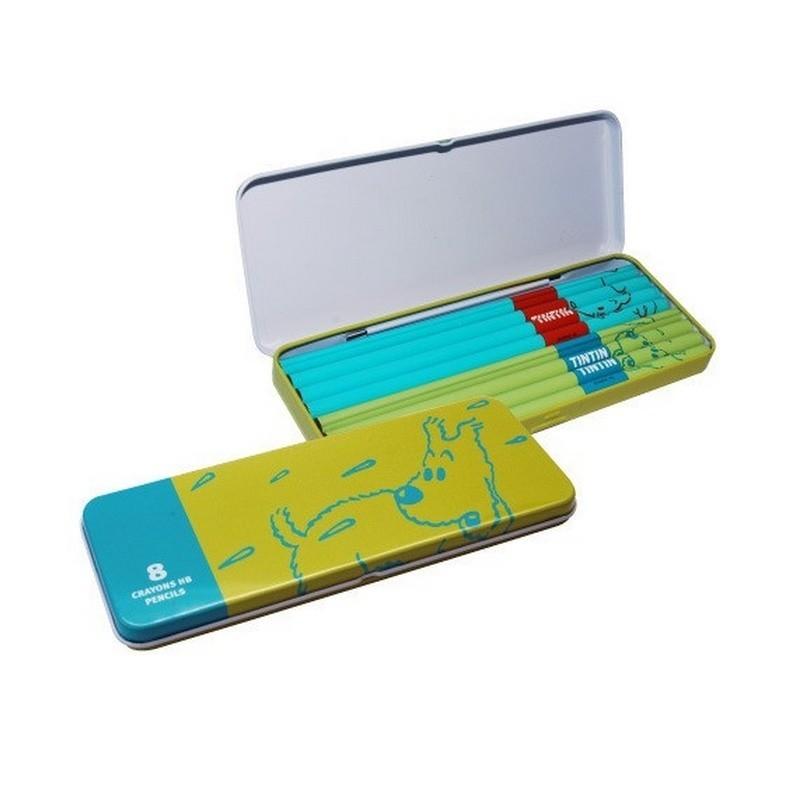 Papeterie Moulinsart Tintin - Boîte de 8 crayons HB (Vert)