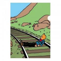 Papeterie Moulinsart Tintin - Chemise plastique A4 Amérique Tintin voie ferrée