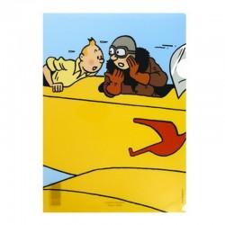 Papeterie Moulinsart Tintin - Chemise plastique A4 Congo Biplan jaune