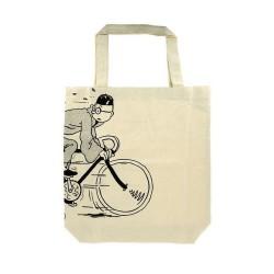 Papeterie Moulinsart Tintin - Sac tissu coton Tintin à vélo
