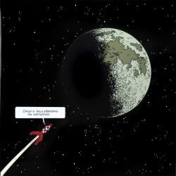 Plaque émaillée Tintin - Lune 100x100 : Fusée approchant la Lune