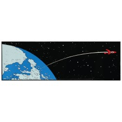 Plaque émaillée Tintin - Lune Horizontale 97x31 : Fusée quittant la Terre