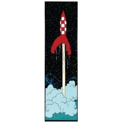 Plaque émaillée Tintin - Lune Verticale 97x27 : Fusée quittant la Lune