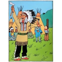 Plaque émaillée Tintin - Tintin en Amérique 60x80
