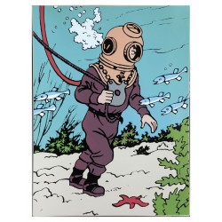"Plaque émaillée Tintin - Licorne ""Tintin scaphandre"" 60x80"
