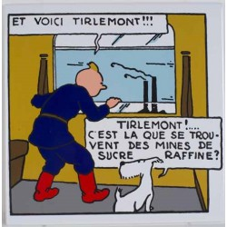 "Plaque émaillée Tintin - Soviet ""Et voici Tirelemont!!!"" 29x29"