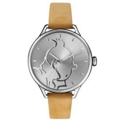 "Horlogerie Moulinsart Tintin - Montre Tintin & Co : Classic ""M"" (Silver/Camel)"