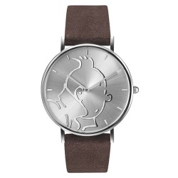 "Horlogerie Moulinsart Tintin - Montre Tintin & Co : Classic ""S"" (Silver/Brown)"