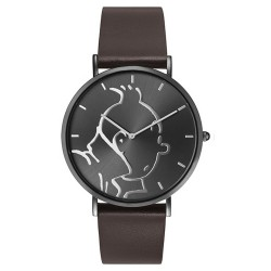 "Horlogerie Moulinsart Tintin - Montre Tintin & Co : Classic ""M"" (Anthracite/Brown)"