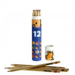 Papeterie Moulinsart Tintin - Boîte de 12 crayons de couleur (Bleue)
