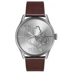 "Horlogerie Moulinsart Tintin - Montre Tintin Soviet : Classic Voiture ""L"" (Silver/Brown)"