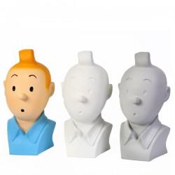 Figurine Moulinsart Tintin -  Buste Tintin monochrome gris