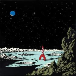 Plaque émaillée Tintin - Lune 35x35 : Terre appelle la Fusée