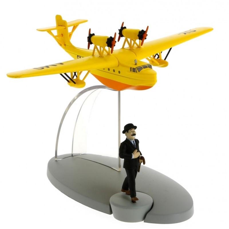 Avion Moulinsart Tintin - Fig 25 Hydravion jaune SY AMO + Dupont