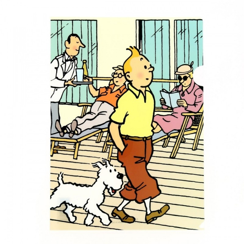 Papeterie Moulinsart Tintin - Chemise plastique A4 Tintin et Milou se promenant
