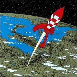 Plaque émaillée Tintin - Lune 100x100 : Fusée quittant la Terre