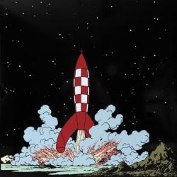 Plaque émaillée Tintin - Lune 100x100 : Alunissage de la Fusée
