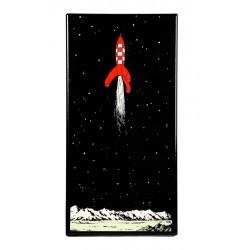 Plaque émaillée Tintin - Lune Convention 23x45 : Alunissage de la fusée