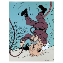 Plaque émaillée Tintin - Licorne Dupond scaphandre 60x82