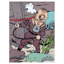 "Plaque émaillée Tintin - Licorne ""Tintin scaphandre"" 60x82"