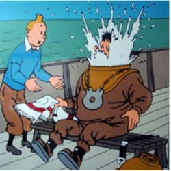 "Plaque émaillée Tintin - Licorne ""Tintin et Haddock en scaphandre"" 100x100"