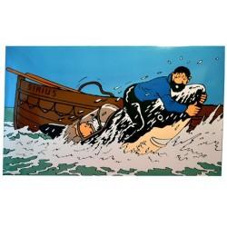 """Plaque émaillée Tintin - Licorne """"Haddock sur le sous marin requin"""" 150x100"""