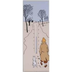 Plaque émaillée Tintin - Thermomètre 17x45