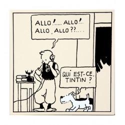 """Plaque émaillée Tintin - Tintin Amérique """"Allo!..Allo!.."""" 35x35"""