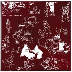 """Plaque émaillée Tintin - Pages de garde """"Bordeaux"""" 35x35"""