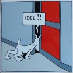 "Plaque émaillée Tintin - Amérique ""Milou idée"" 30x30"