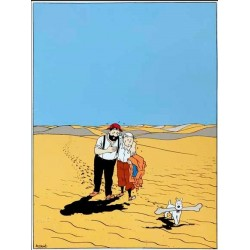 Plaque émaillée Tintin - Tintin Désert Crabe 60x82