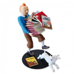 Figurine Moulinsart Tintin - Tintin tenant les albums Version 3