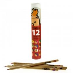 Papeterie Moulinsart Tintin - Boîte de 12 crayons de couleur (Rouge)