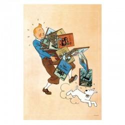 """Poster Moulinsart Tintin - """"Tintin tenant les Albums"""""""