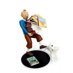 Figurine Moulinsart Tintin - Tintin tenant les albums Version 1