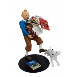 Figurine Moulinsart Tintin - Tintin tenant les albums Version 2