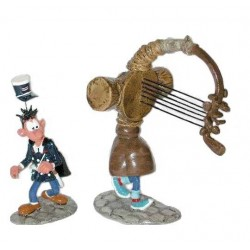 Pixi Franquin Gaston -  Gaston portant son gaffophone et Longtarin