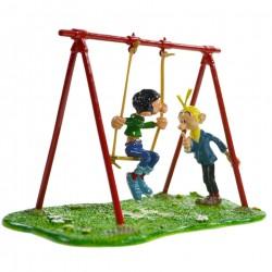 Pixi Franquin Gaston - Gaston sur sa balançoire à élastiques avec Fantasio