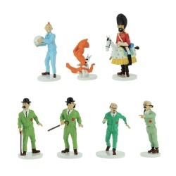 Moulinsart Tintin - Coffret série Lune (7 figurines) : Tintin, Milou, Haddock, Tournesol, Dupont, Dupond, Wolff