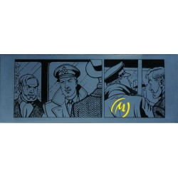 Plaque émaillée Blake & Mortimer - Marque Jaune négatif 94x37