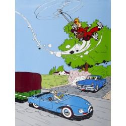 Plaque émaillée Spirou & Fantasio - Turbotraction et Fantacoptère 60x80