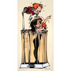 Plaque émaillée Petit Spirou - Mlle Chiffre dans sa douche 35x70
