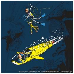 Plaque émaillée Spirou & Fantasio - Repaire de la Murène (Prestige) 59x59